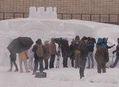 30-метровую снежную скульптуру соорудили в Киеве (+видео)