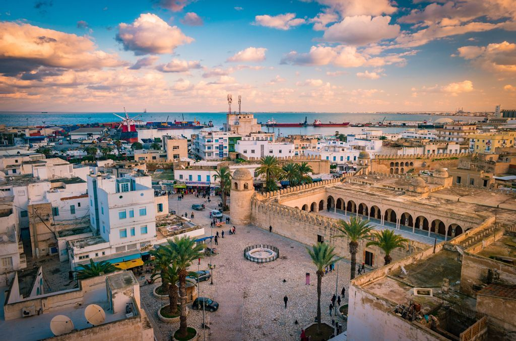 Beautiful sunset in Sousse, Tunisia
